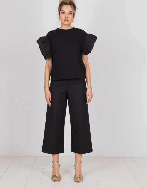 Black oversized cropped trousers