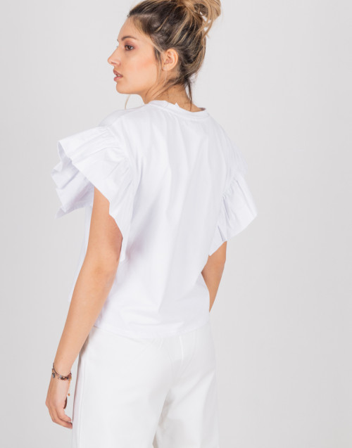 """T-shirt bianca """"Julia"""" con maniche con volant"""