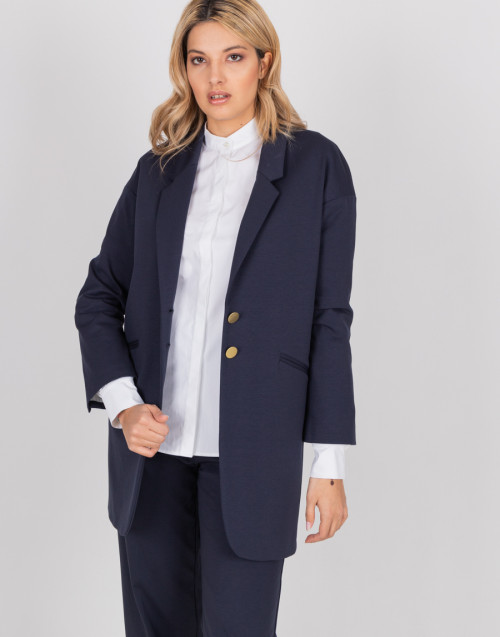 Single-breasted blue jacket with back slit