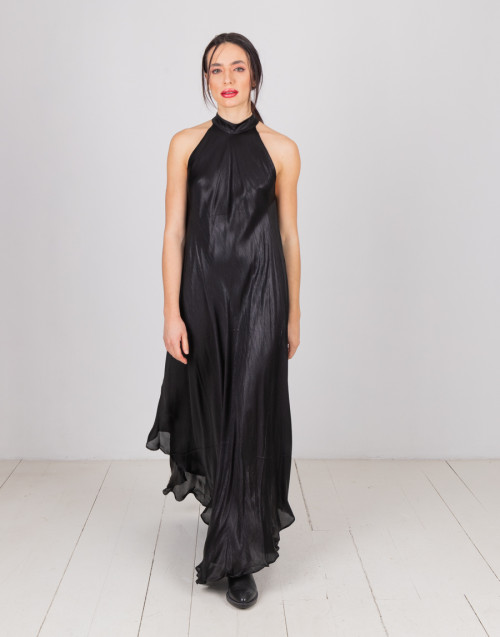 Black satin flared dress
