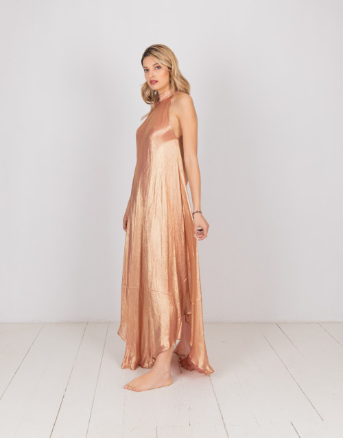Flared antique gold-pink satin dress