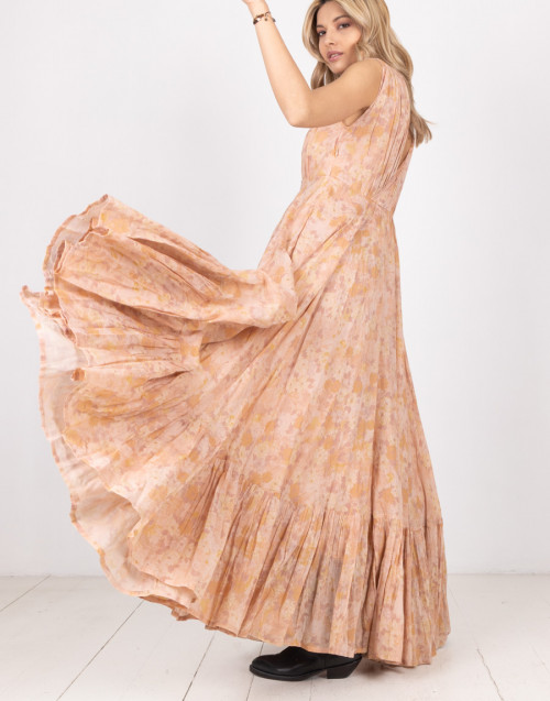 "Long dress ""Sunkiss"" with flowers and flounce"