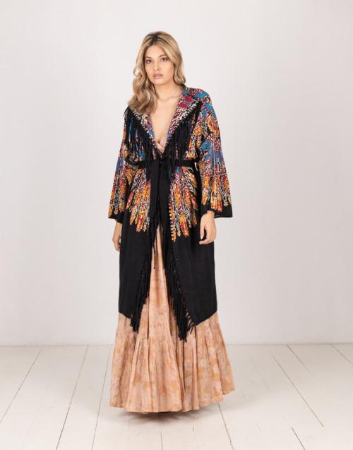 Kimono nero con frange e motivo etnico