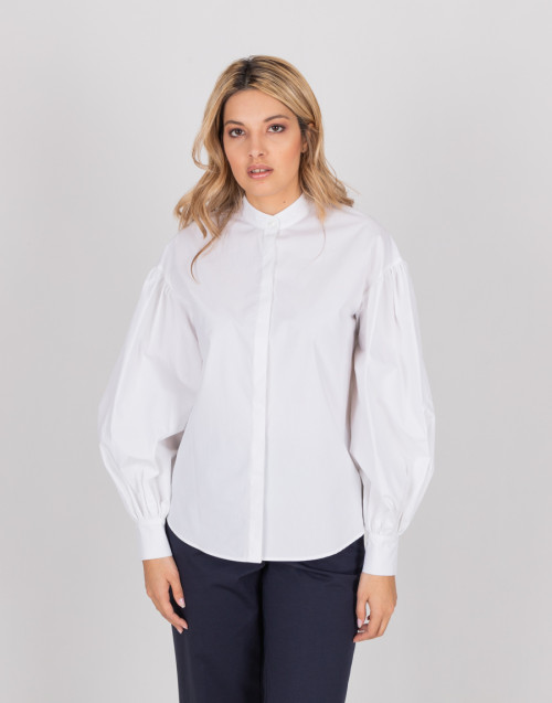 White shirt with long puff sleeves