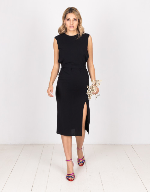 Black dress with rhombus back neckline