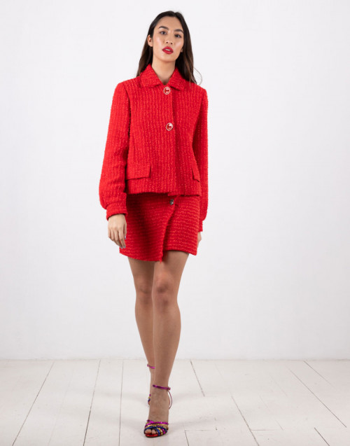 "Red tweed miniskirt ""Camelie"""