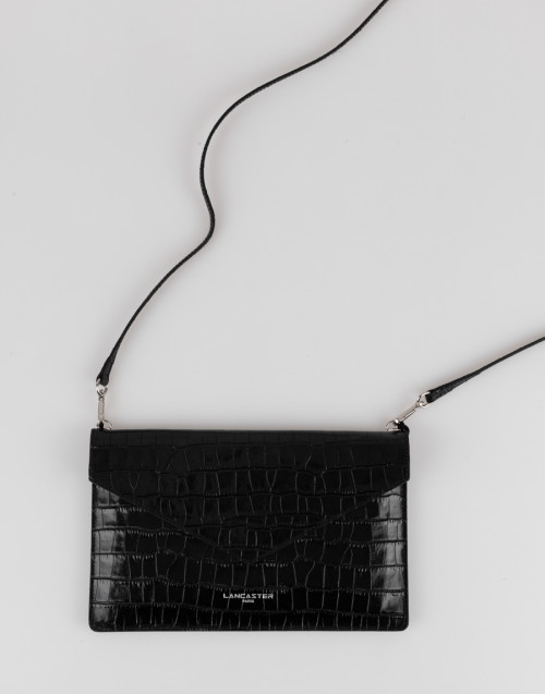 Black croco effect envelope clutch