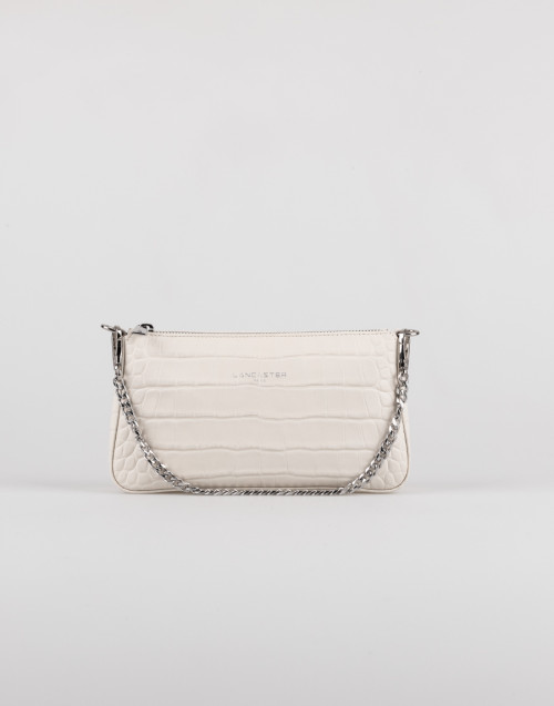 Beige croco effect double shoulder strap