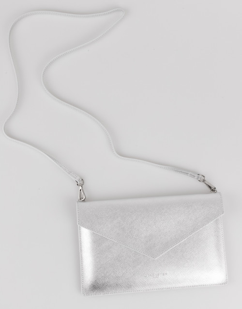 Silver saffiano envelope clutch