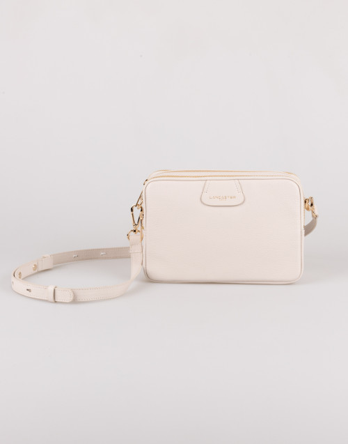 Ivory shoulder bag with three compartments