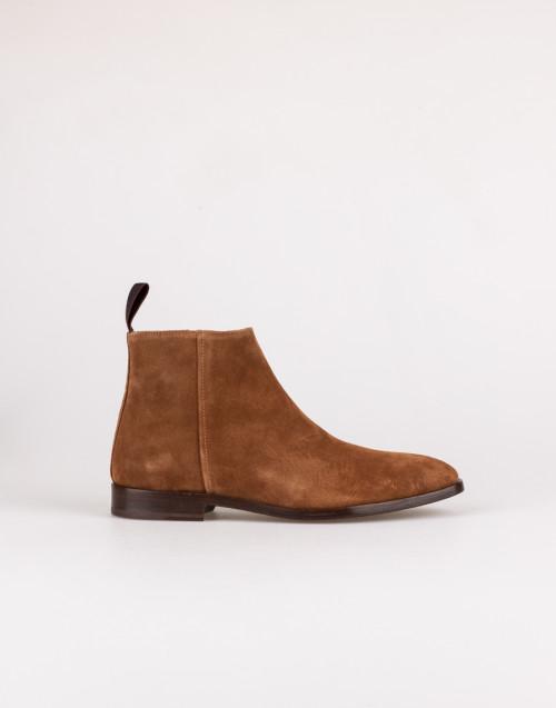 Cognac suede ankle boots
