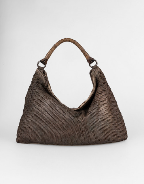 Khaki one-shoulder bag with pixel pattern