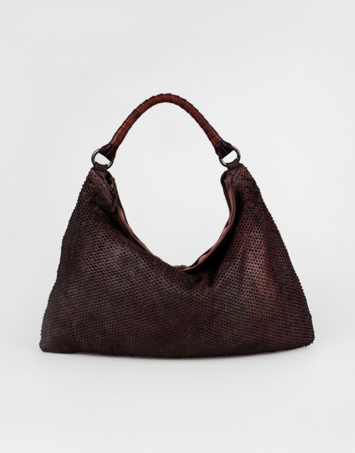 Brown one-shoulder bag with pixel pattern