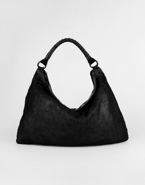 Black one-shoulder bag with pixel pattern
