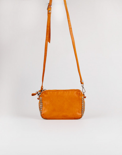 Small studded ocher leather shoulder bag