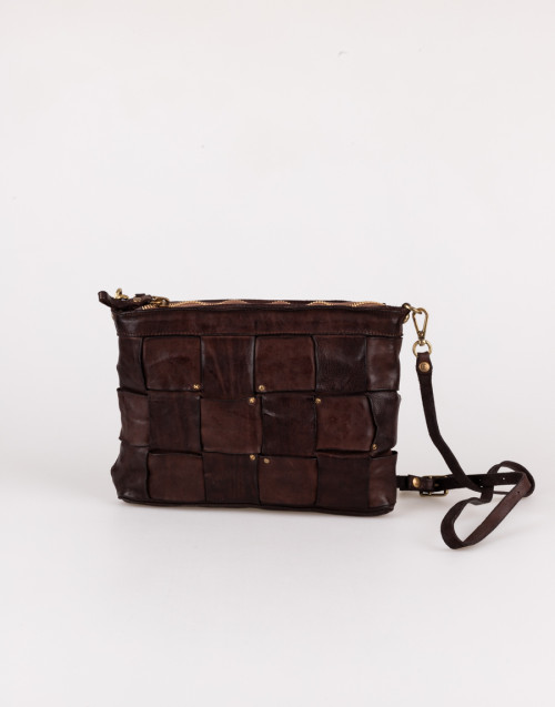Dark brown shoulder bag with interweaving