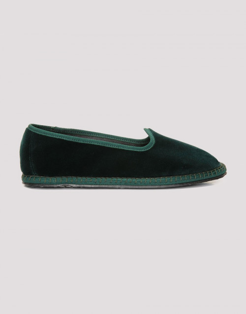 Laguna green velvet slippers