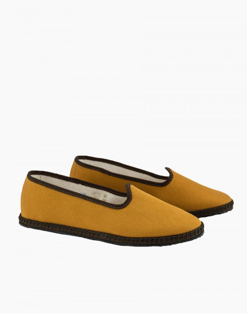 Siena ocher canvas slippers