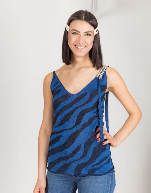 Blue and black lurex top