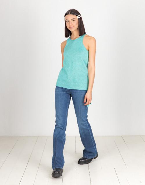 Turquoise lurex top