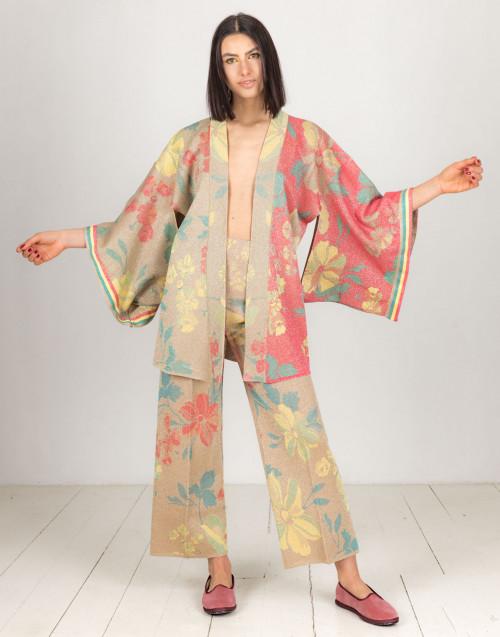 Cardigan kimono rosa e oro