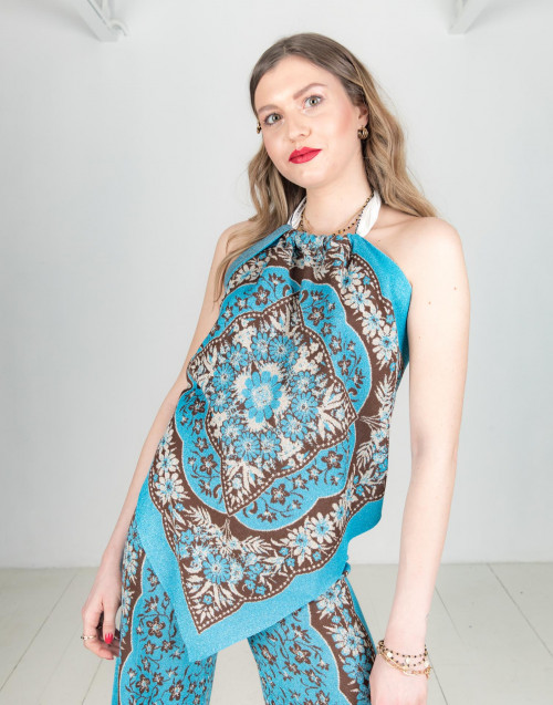 Blue lurex foulard top