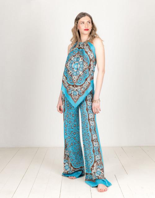 Blue palazzo foulard trousers