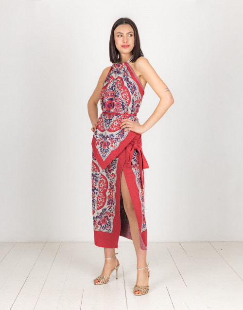 Red lurex foulard top