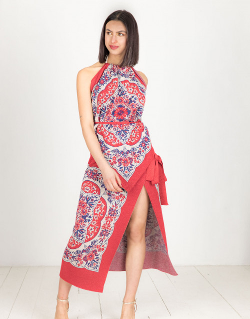 Red lurex foulard wallet skirt