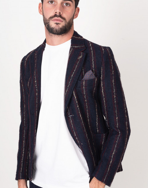 Blue and bordeaux streaked blazer