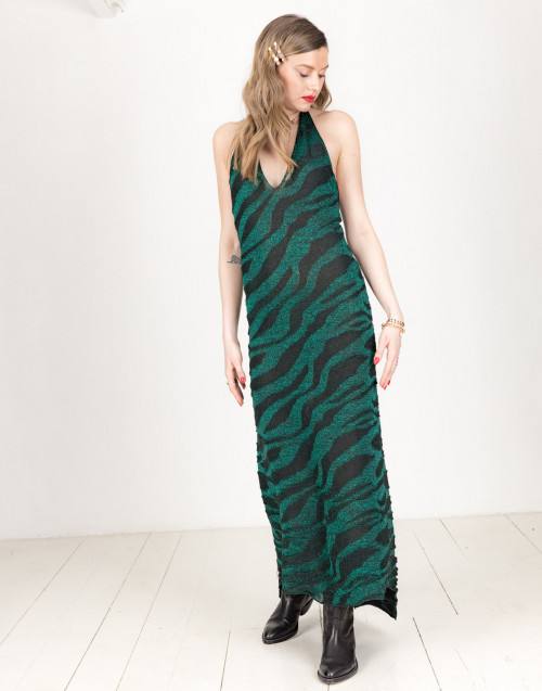 Long green and black lurex dress