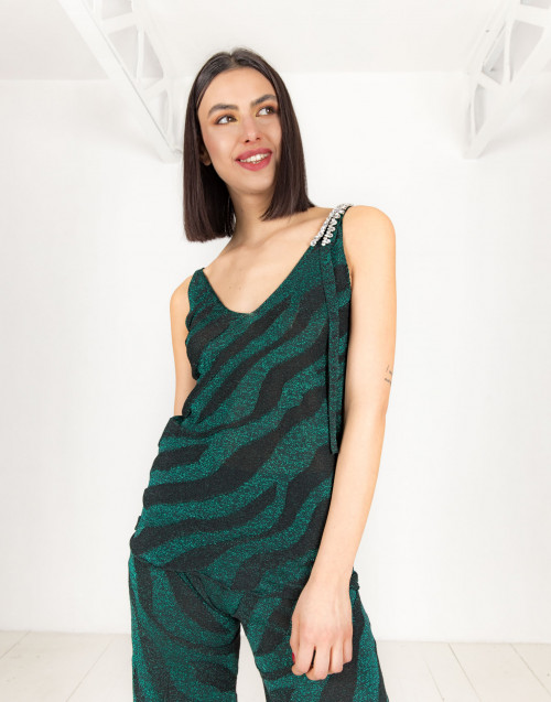 Green and black lurex top