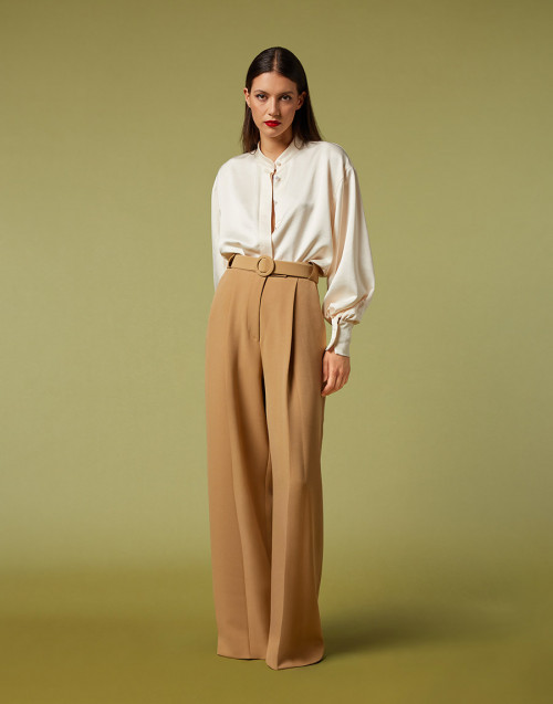 Camel-colored palazzo trousers