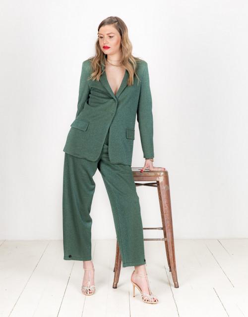 Dark green blazer with button