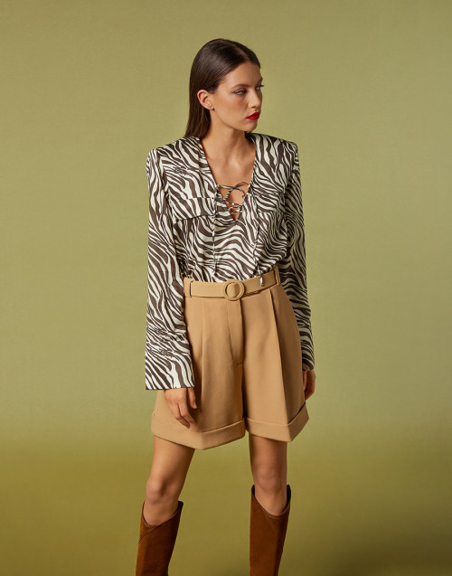 High-waisted camel shorts
