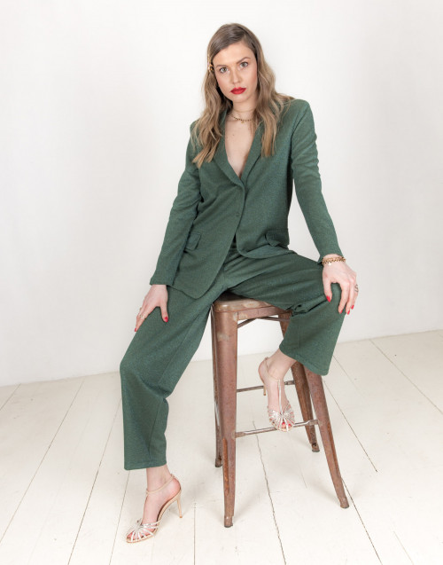 Green lurex trousers