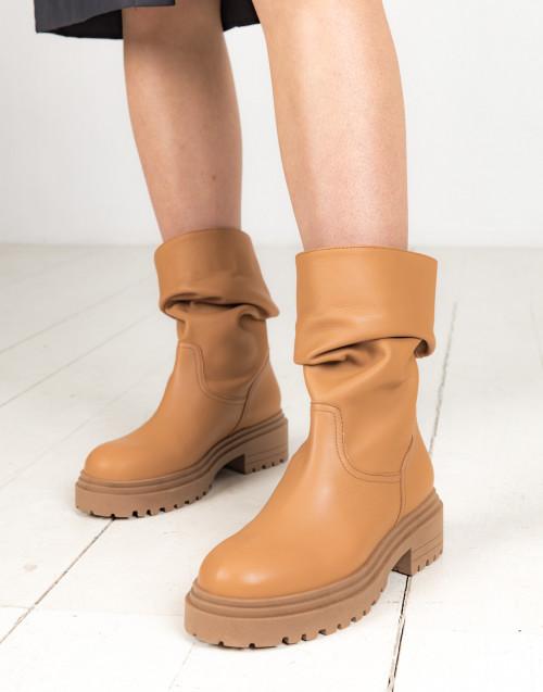 Cognac biker boots