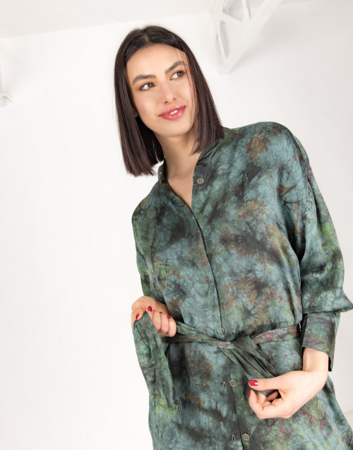 Green tie dye shirt dress