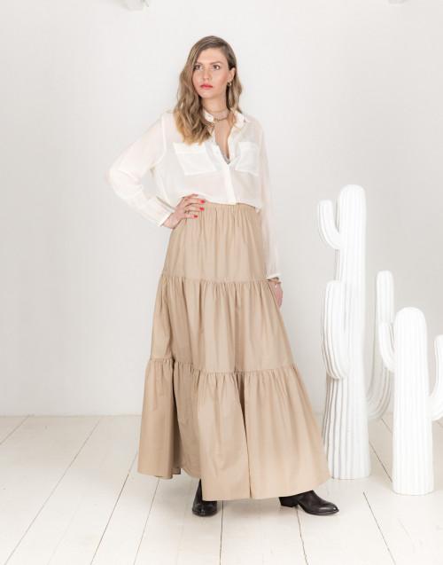 Felicie beige cotton skirt with flounces
