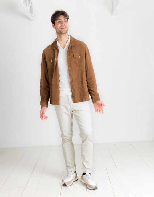 Unlined camel-colored suede overshirt