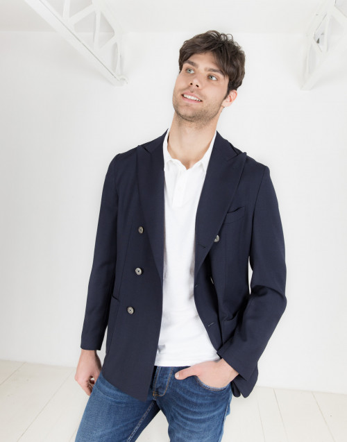 Double-breasted blue blazer