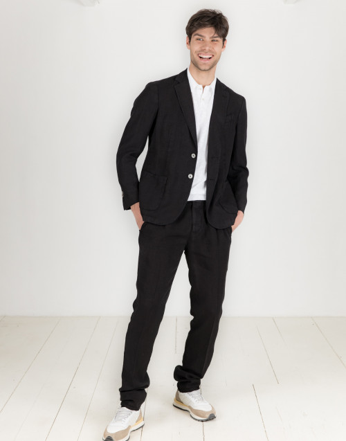Black linen suit with pockets