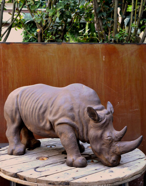 Rhino Resin Sculpture 180-021 86x32x36h