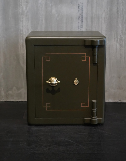 Vintage English safe, restored and repainted in dull...