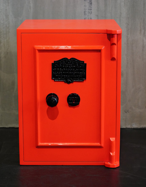 Vintage safe restored in orange