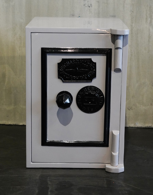 restored vintage safe gray pantone 430c