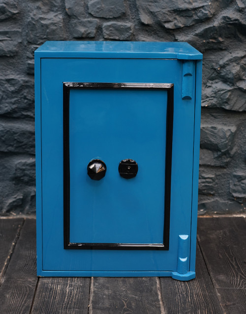 Blue restored vintage safe