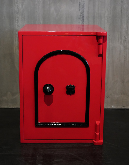 Vintage safe restored in red