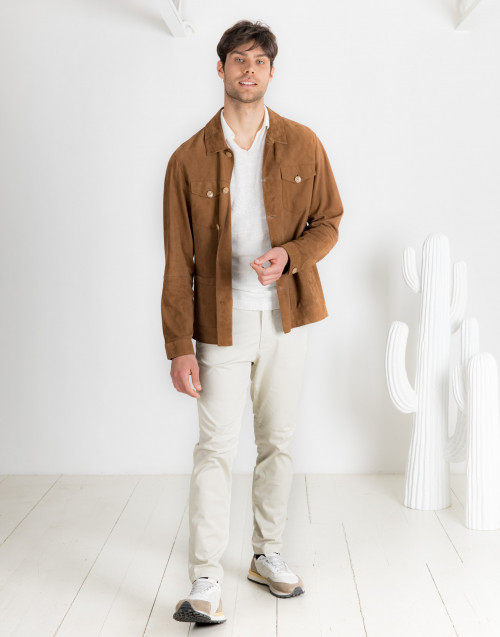 Beige cotton chinos trousers