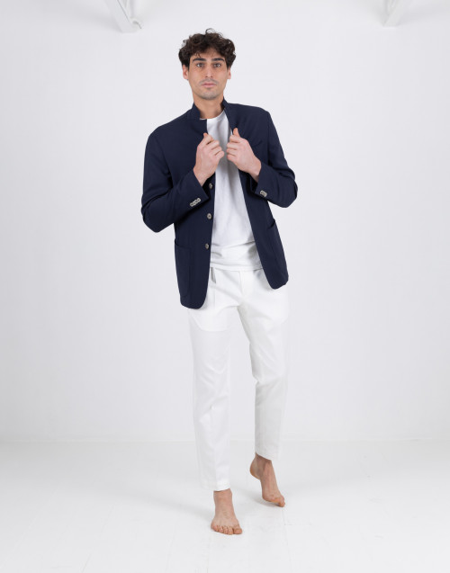 White cotton tailored trousers